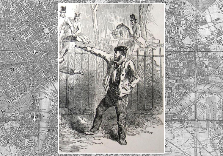 Уильям Гамильтон угрожает незаряженным пистолетом королеве Виктории