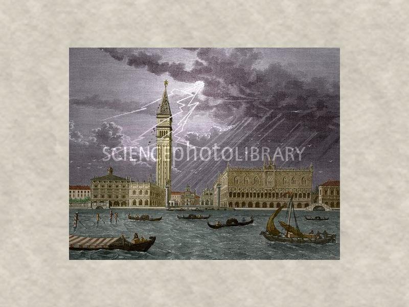 Гроза над Венецией - молнией разрушена башня Св. Марка