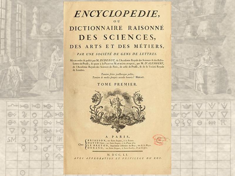 Первый том Энциклопедии, или Систематического Словаря Наук, Искусств и Ремёсел