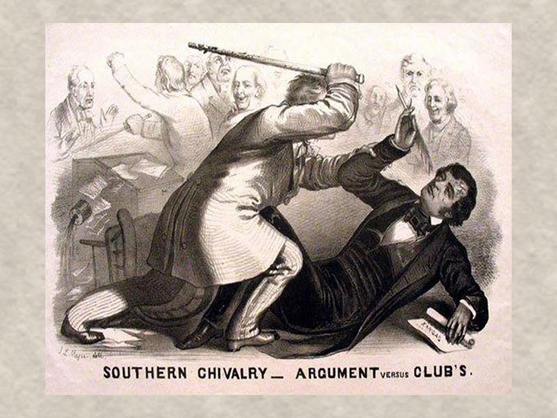 Сенатор Престон Брукс избил сенатора Чарльза Самнера