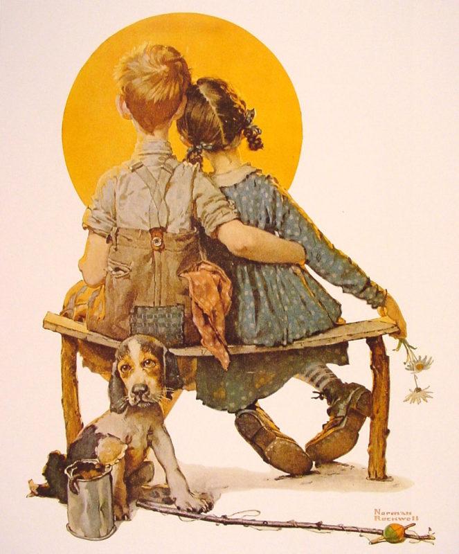 Мальчик и девочка смотрят на Луну (Норман Роквелл)