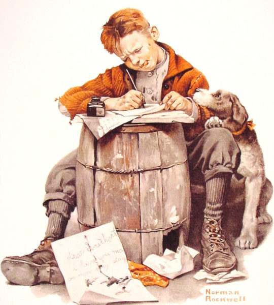 Мальчик пишет письмо (Норман Роквелл)