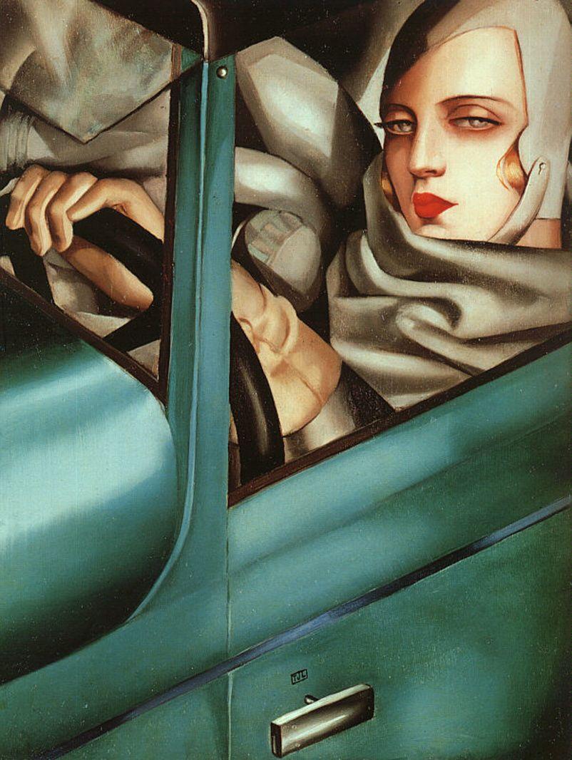 """Автопортрет в зеленом """"Бюгатти"""", Тамара Лемпицкая, 1929 год."""
