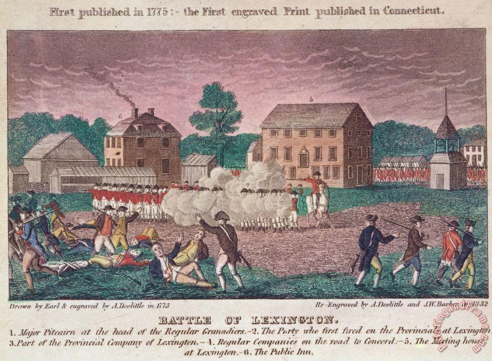 Бой у Лексингтона - изображение, современное событию.