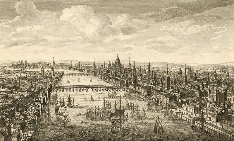 Лондон и Темза во второй половине XVIII века.