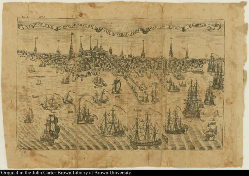 Вид Бостона и бостонской гавани во второй половине XVIII века