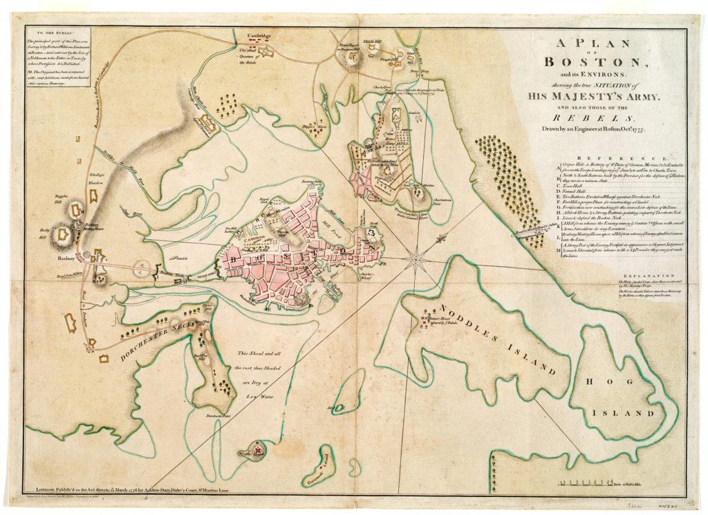 Карта Бостона и окрестностей в 1775 году.