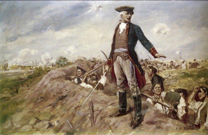 Уильям Прескотт на бруствере редута на Бридс-Хилл