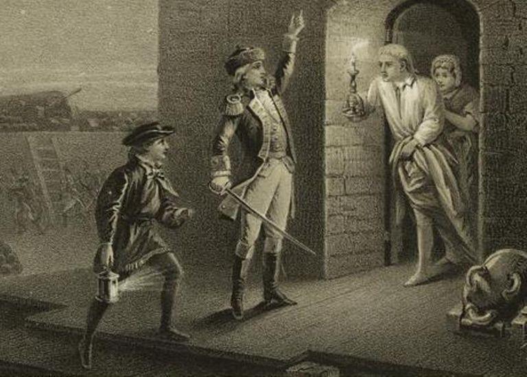"""Гравюра, изображающая Аллена и командира форта Тикондерога. Судя по пафосной позе, она иллюстрирует версию с """"именем великого Иеговы и Континентального Конгресса"""", а не с """"вылазь оттуда, старая крыса""""."""