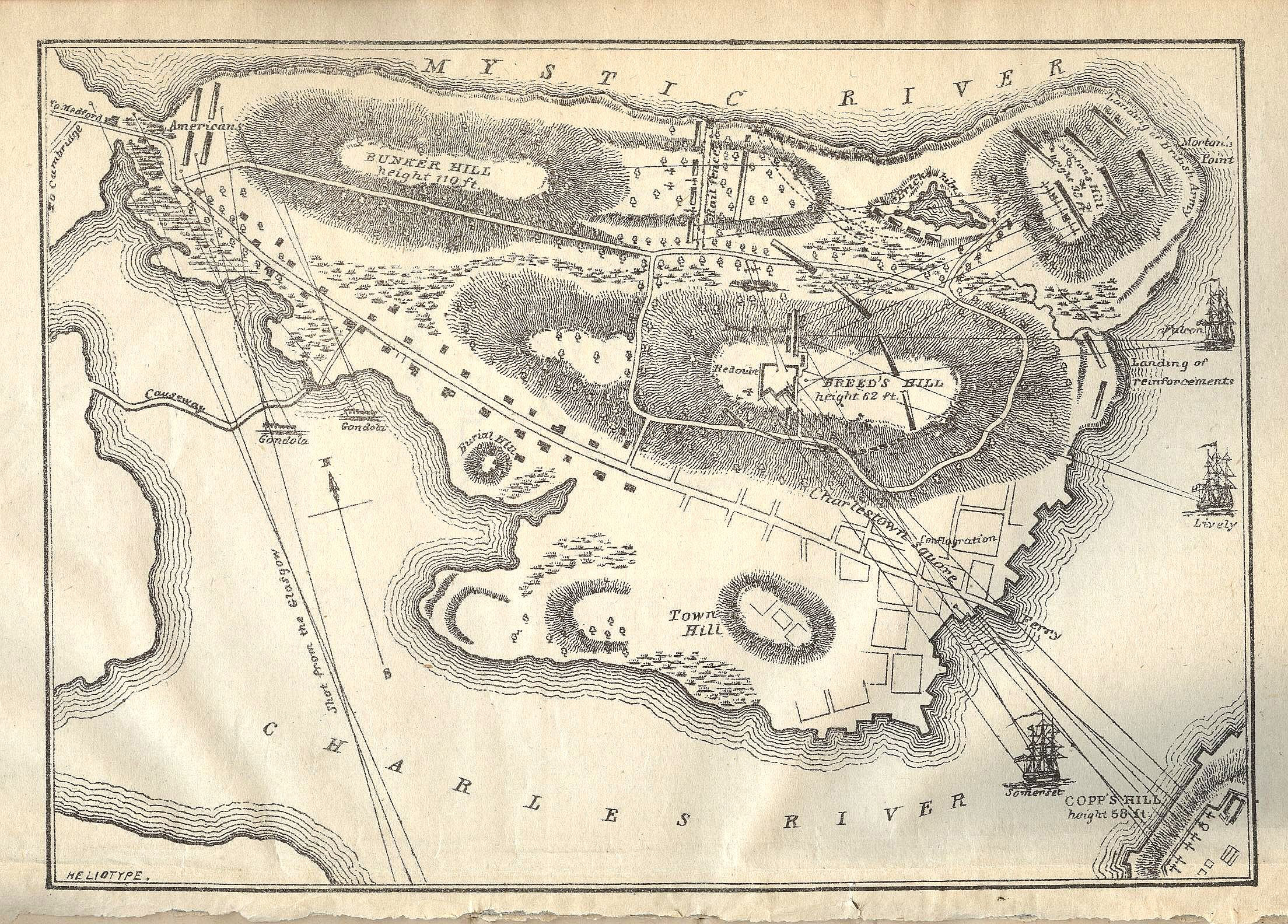 Карта полуострова Чарльстон с холмами Бридс-Хилл и Банкер-Хилл